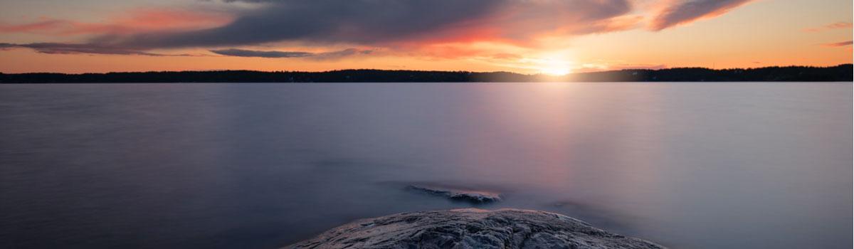 Beautiful sunset overlooking water